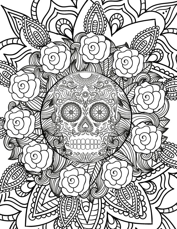 Free Spooky Halloween Adult Coloring Page Halloween skull Adult