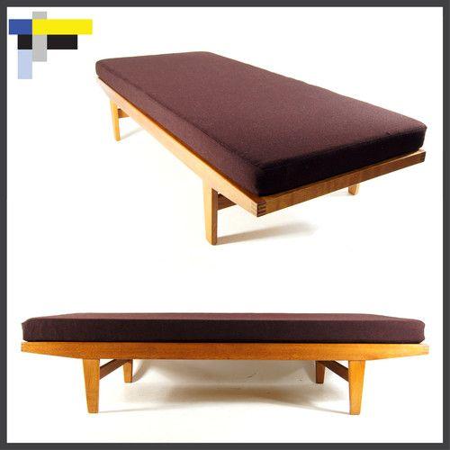 Retro Vintage Danish Oak Day Bed Sofa Chair 3 Seat