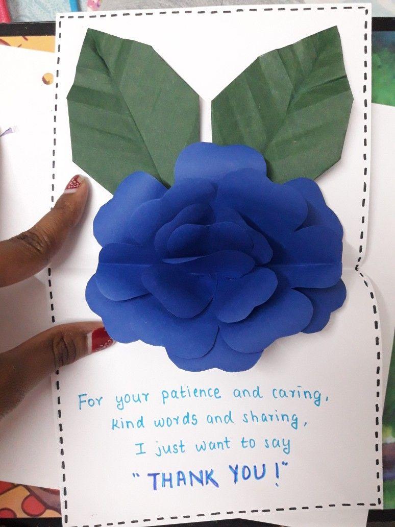 Teachers Day Rose Pop Up Card Kind Words Teachers Day Cards