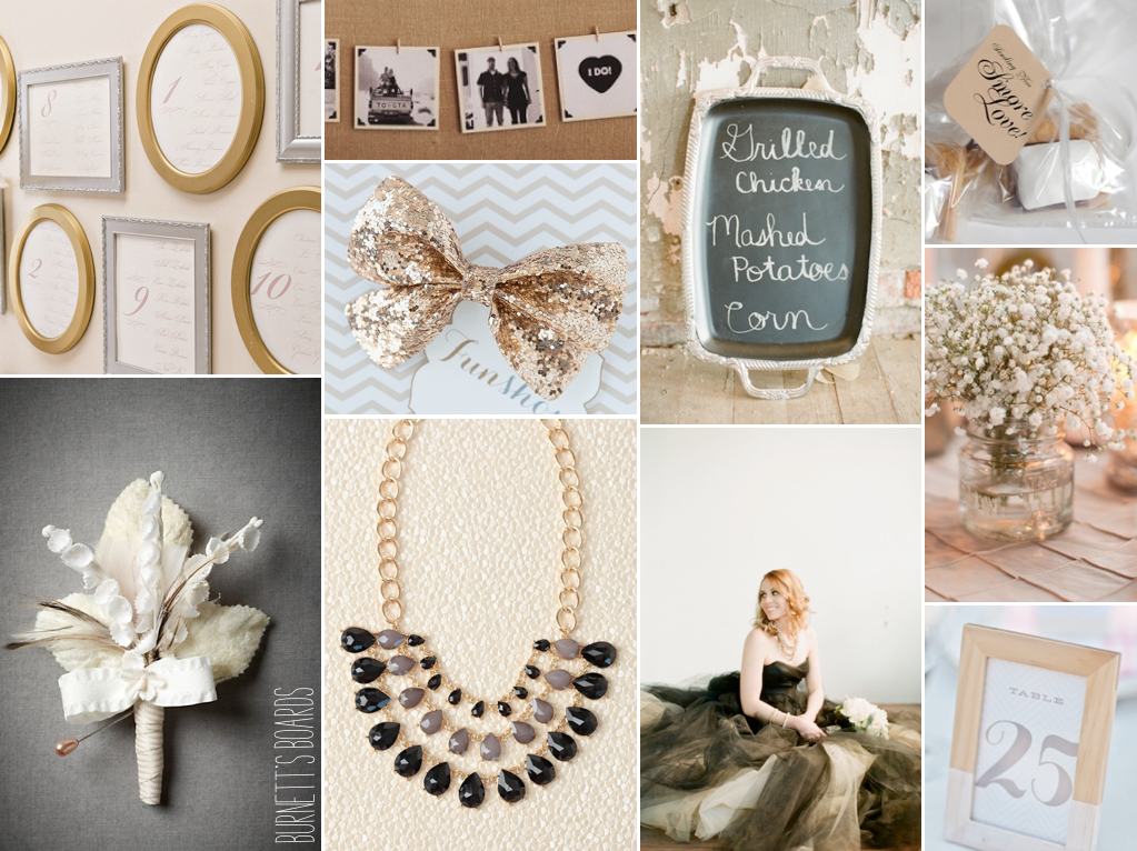 Black Gold And Silver Wedding With Lots Of Picture Frame Details