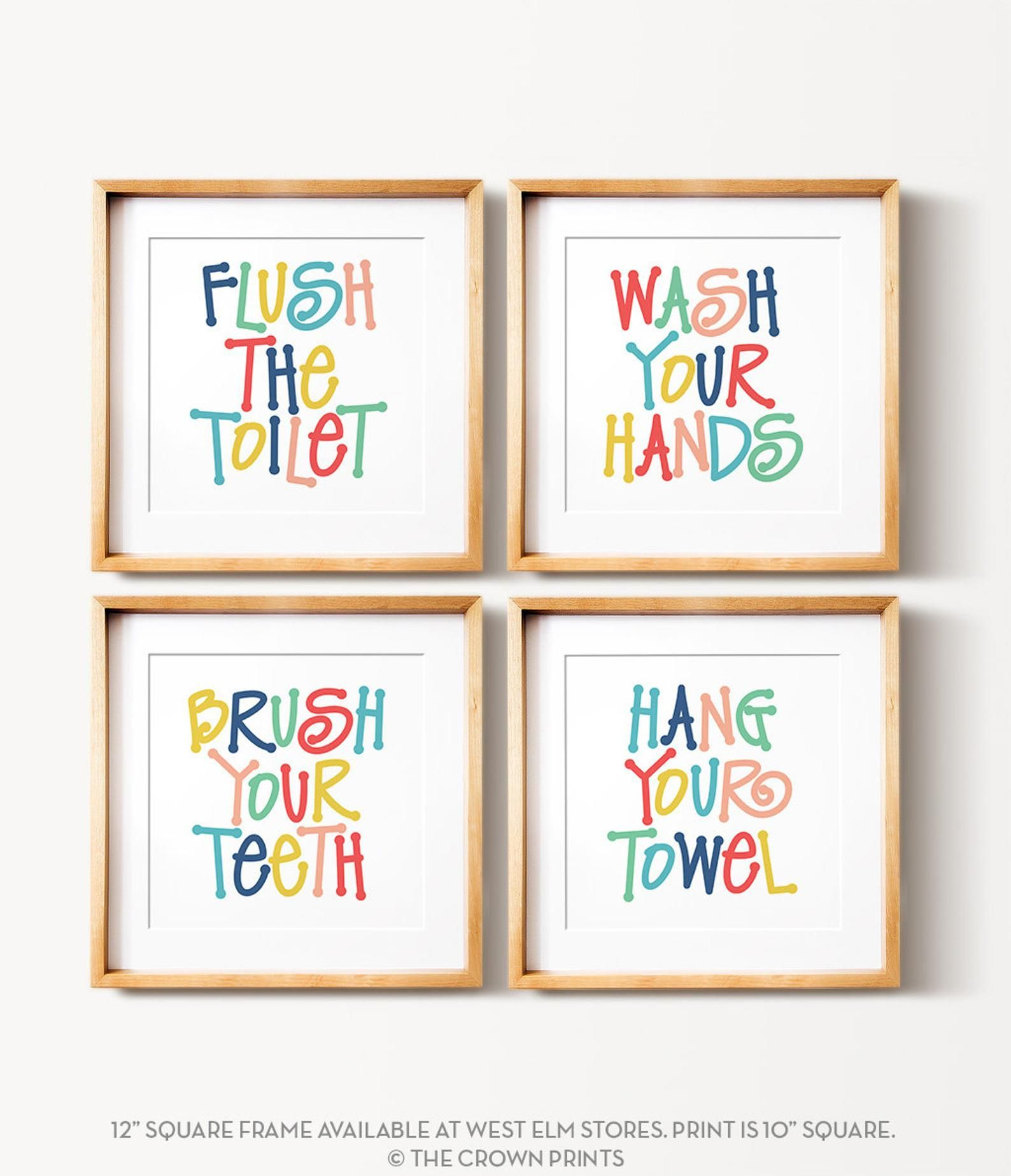 Photo of Kids bathroom art set, PRINTABLE art, Flush the toilet, Wash your hands, Brush your teeth, Colorful bathroom wall decor, Bathroom wall art