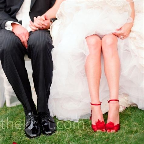 One day. Black and White wedding, with red accents. The most important red accent? My red heels.