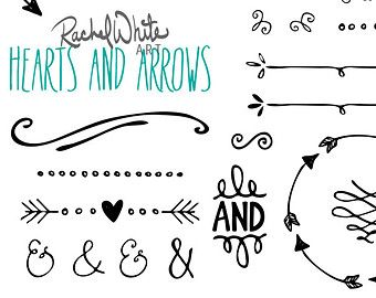 Rustic Heart And Arrow Clip Art Vector Hearts Arrows