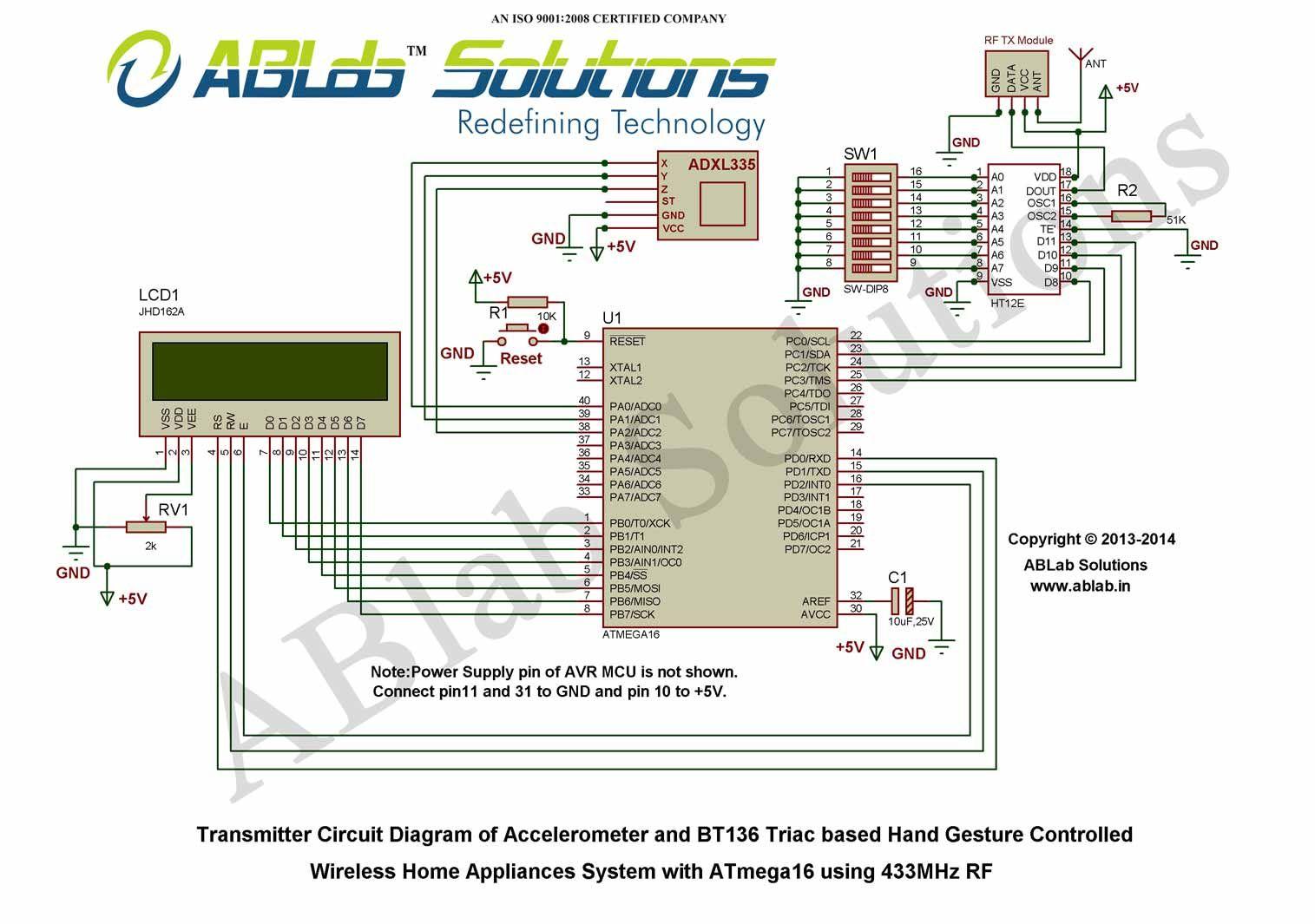 accelerometer and bt136 triac based hand gesture controlled wireless rh pinterest com