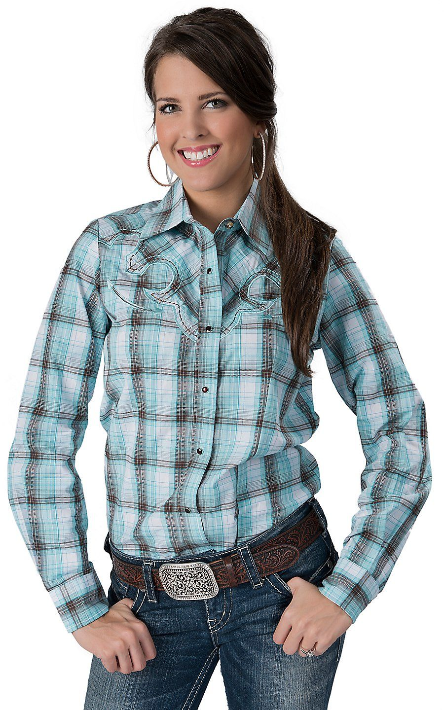 236ee490 Life Style® Women's Turquoise, White & Brown with Lurex Plaid Long Sleeve  Retro Western Shirt