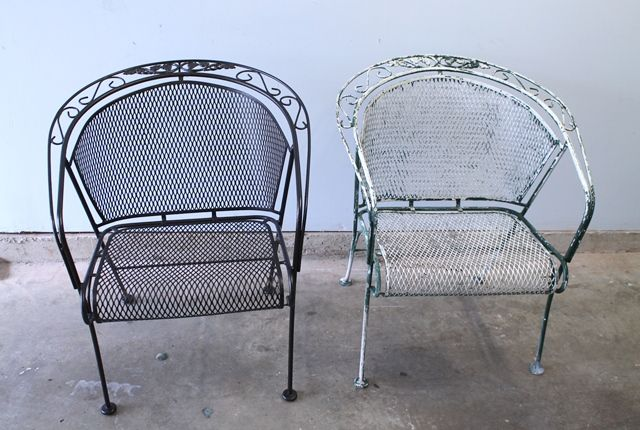 Before After Chair Teaser Painting Patio Furniture Iron Frame Shelf Table