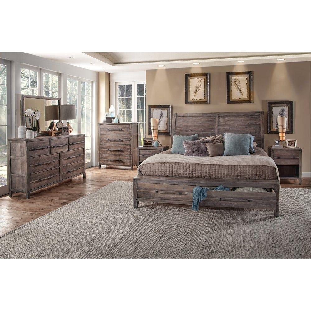 Asher 6 Piece Bedroom Set King Whitewashed Beige Greyson