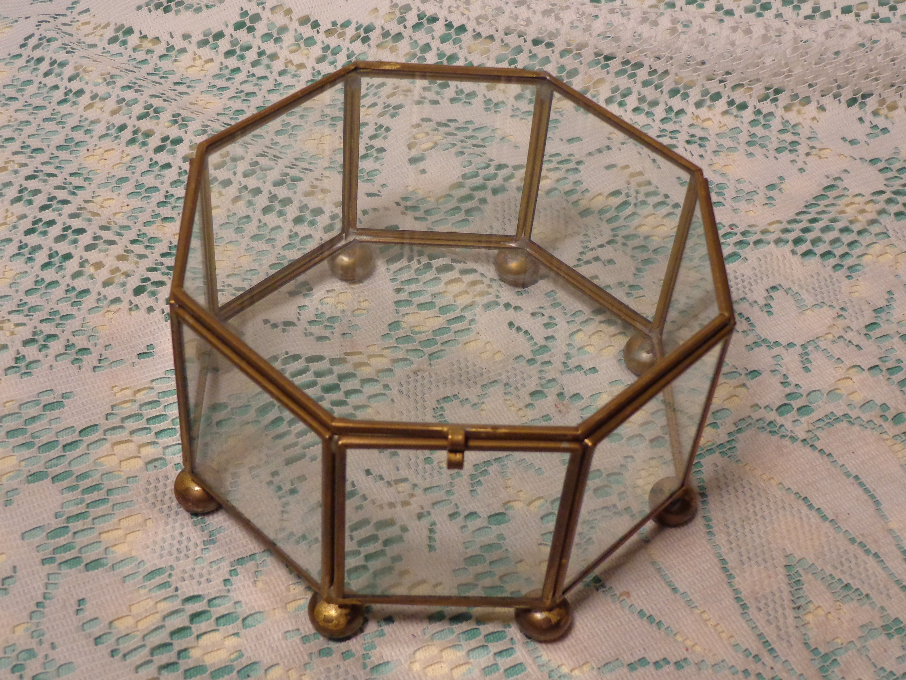 Vintage Glass and Brass Display Case - Octagon Jewelry Casket  -  17-115 by BubbiesMemories on Etsy