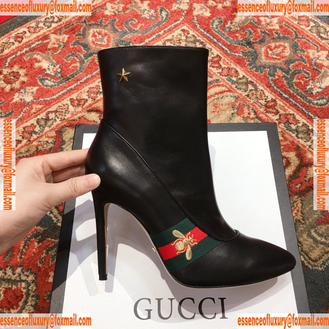 661e0ed4545e0 Gucci Web Bee Leather Ankle Boot 90MM Gucci Luxury Shoes 35 To 39 A151PP550  AA73735
