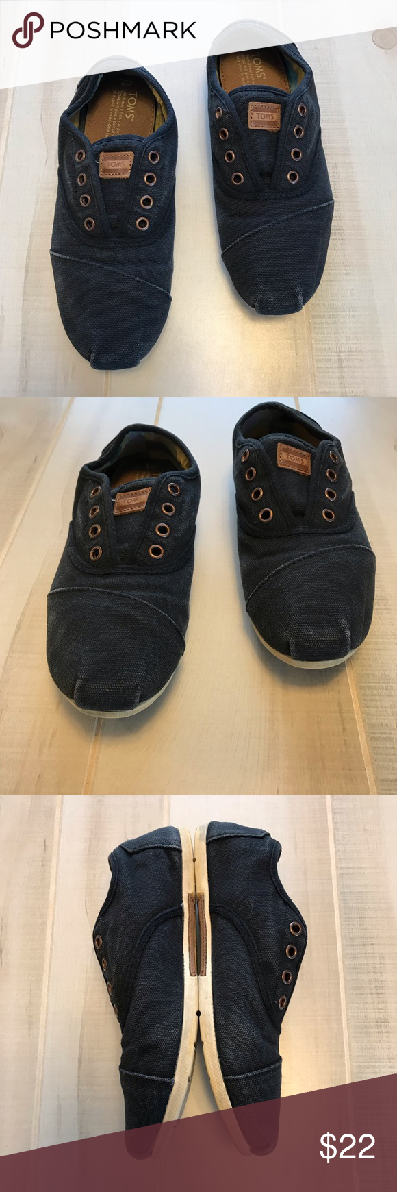 e2800b6857 TOMS Navy Canvas Slip On Sneaker Shoe Laceless 8 Toms slip on sneakers.  Navy canvas