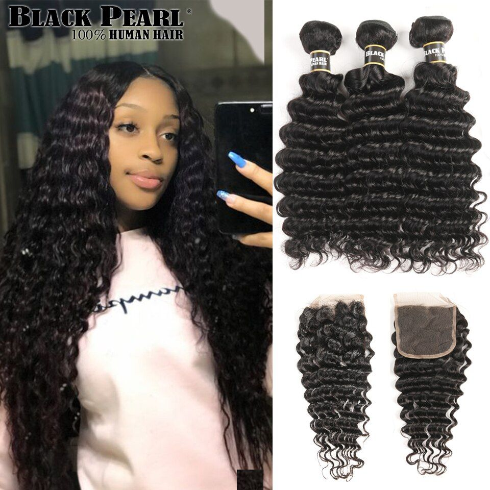 Black Pearl Human Hair Deep Wave Bundles With Closure Non