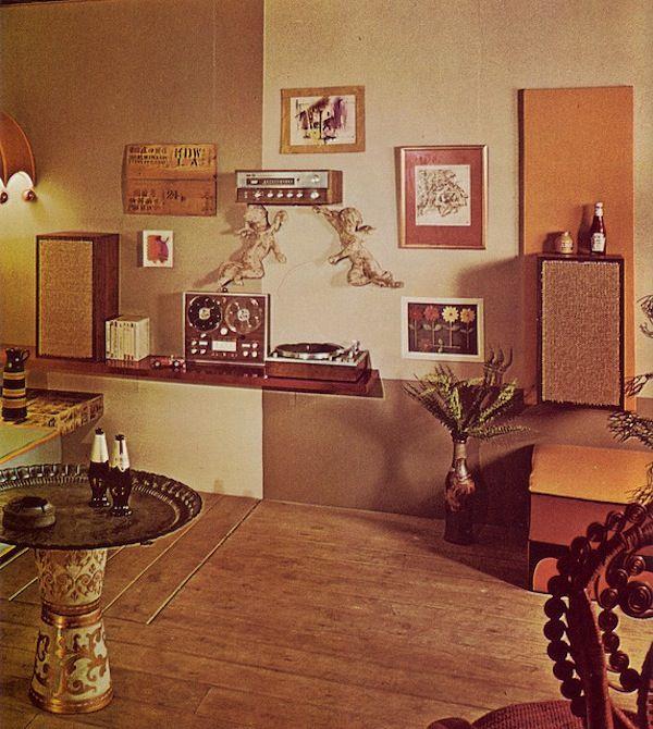 Midcentury Modern Retro Interior Design Decoration Decor 60s 70s. Music Room