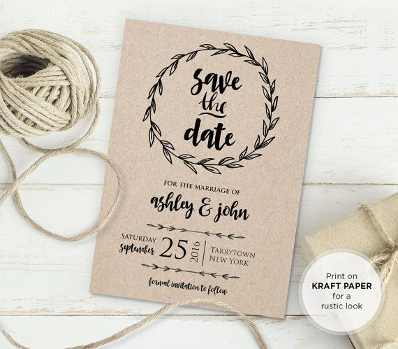 Rustic Save The Date Template Instant Download Diy Kraft