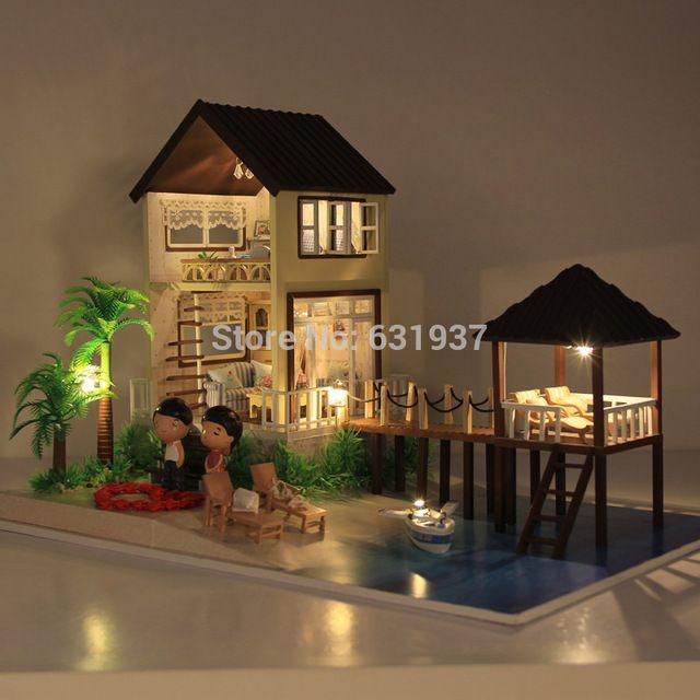 Freies Neue Große Puppenhaus C DIY Handgemachten Malediven Holz Puppe Haus  Alle Häuser Möbel Einschließlich 3D