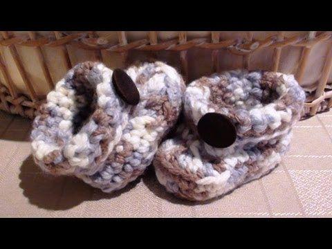 How to Crochet Chunky Crochet Boy Baby Booties Video Tutorial ...