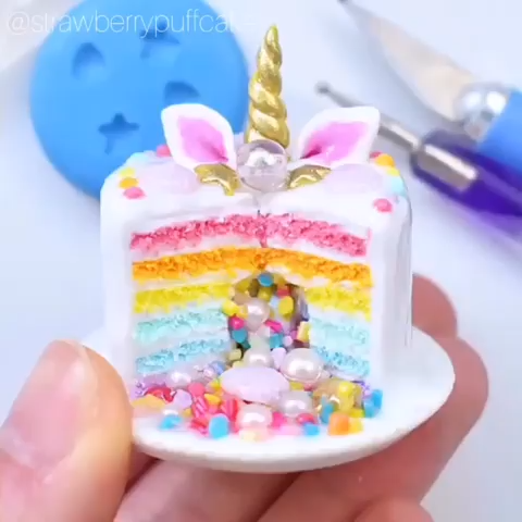 Miniature Unicorn Surprise Cake -   13 cake Art polymer clay ideas