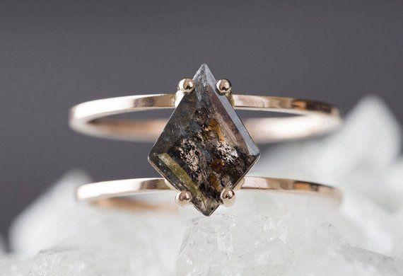 Custom Natural Geometric Diamond Ring