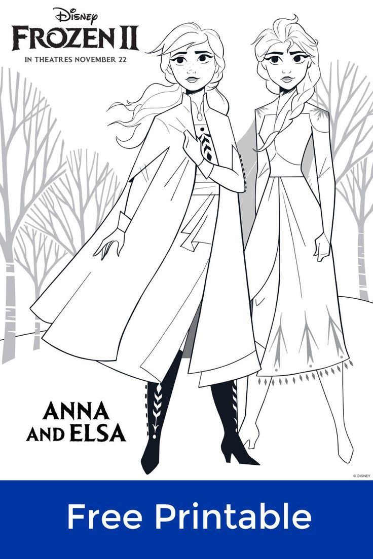 Frozen 30 Anna and Elsa Coloring Page  Elsa coloring pages, Elsa