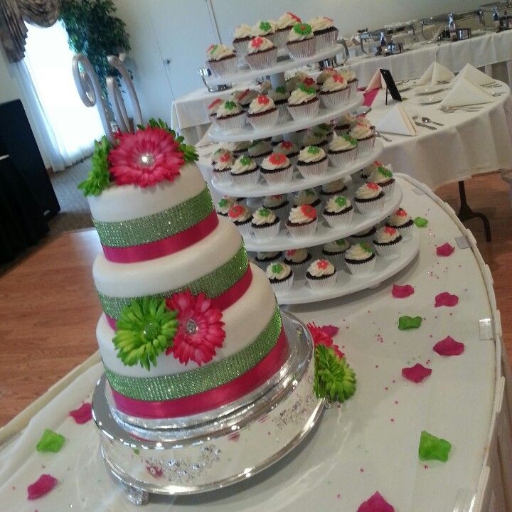 Hot Pink And Lime Green Wedding Cake And Cupcakes