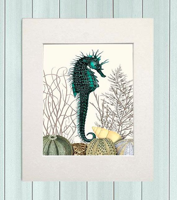 Seahorse Print Seahorse & Sea Urchins Nautical by NauticalNell