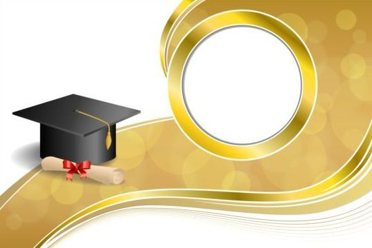 Graduation Cap With Diploma And Golden Abstract Background 05
