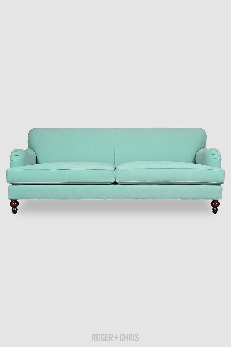 Tight-Back English Roll-Arm Sofas, Armchairs   Basel from Roger + Chris Glacier blue/green stain proof fabric. Made in America.