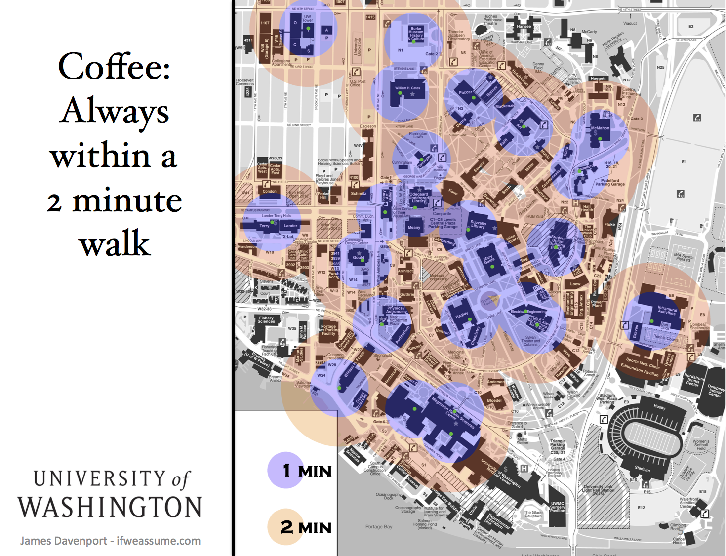 Coffee 2 Min From Everywhere Visual Ly Campus Map Infographic University Of Washington