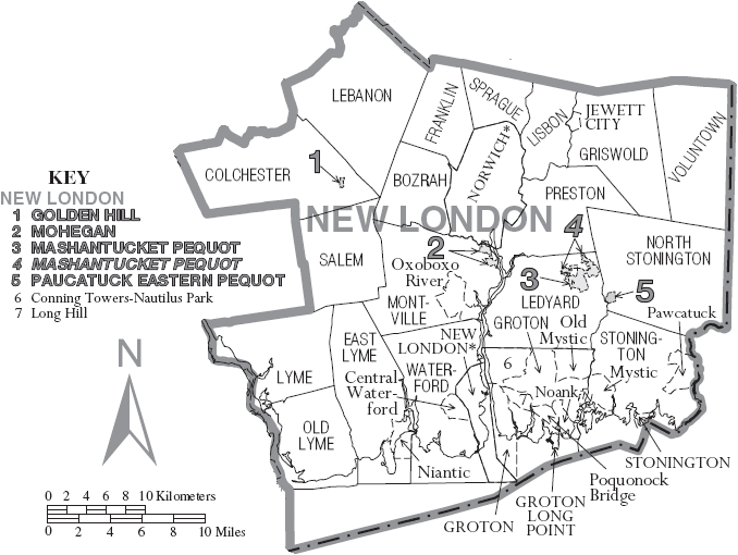 Map Of New London County Connecticut United States With Township - Us muni map