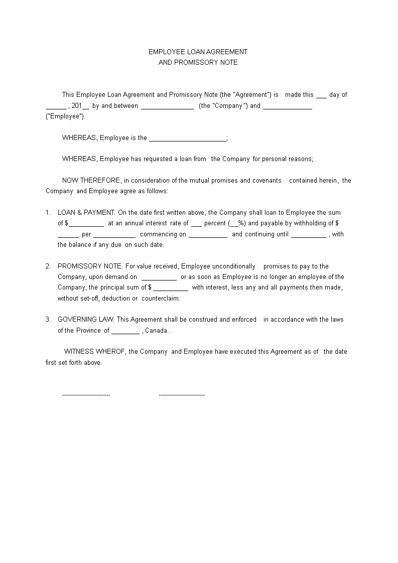 Employee Loan Agreement  Download This Employee Loan Agreement