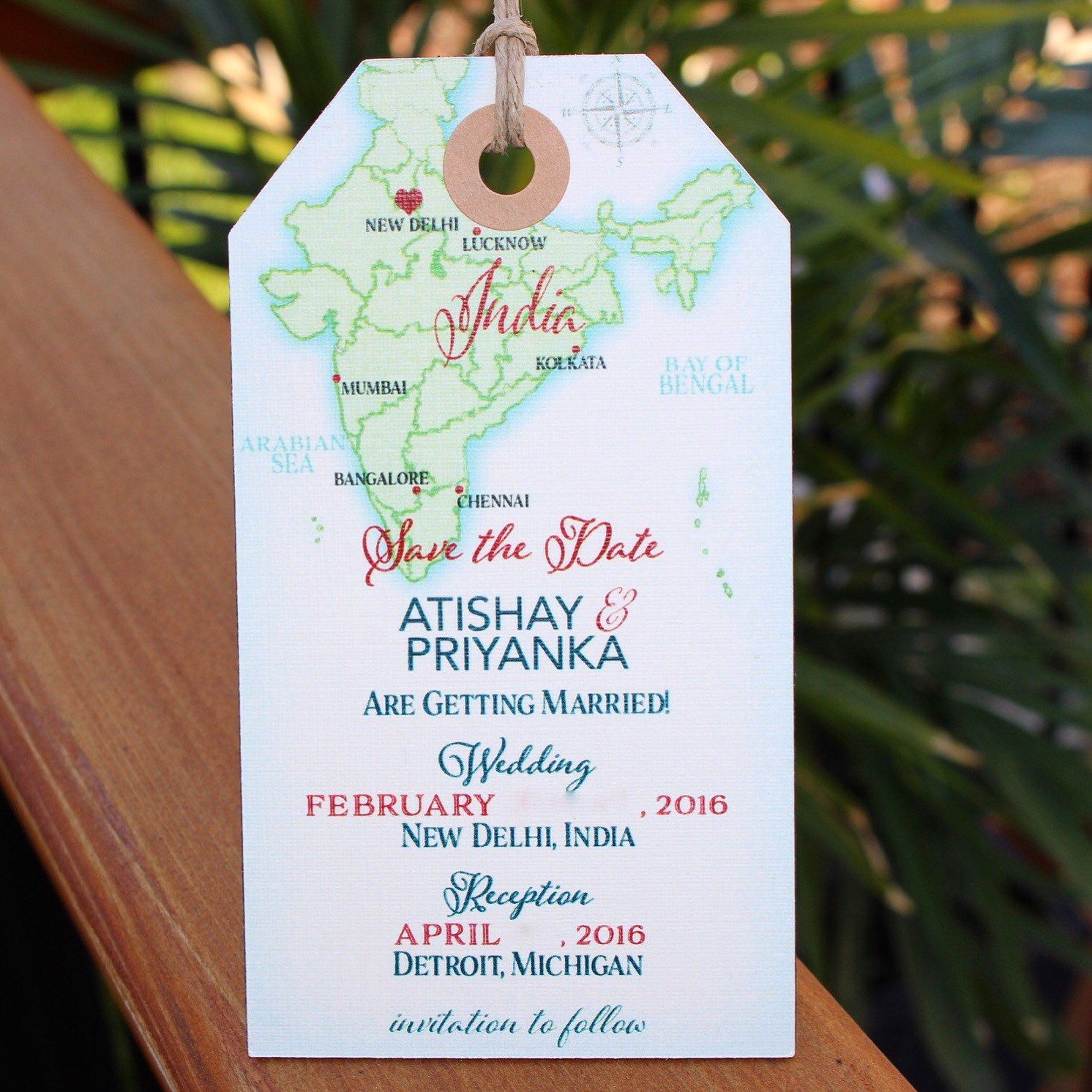 Wedding invitation India map Save the Date Luggage Tag
