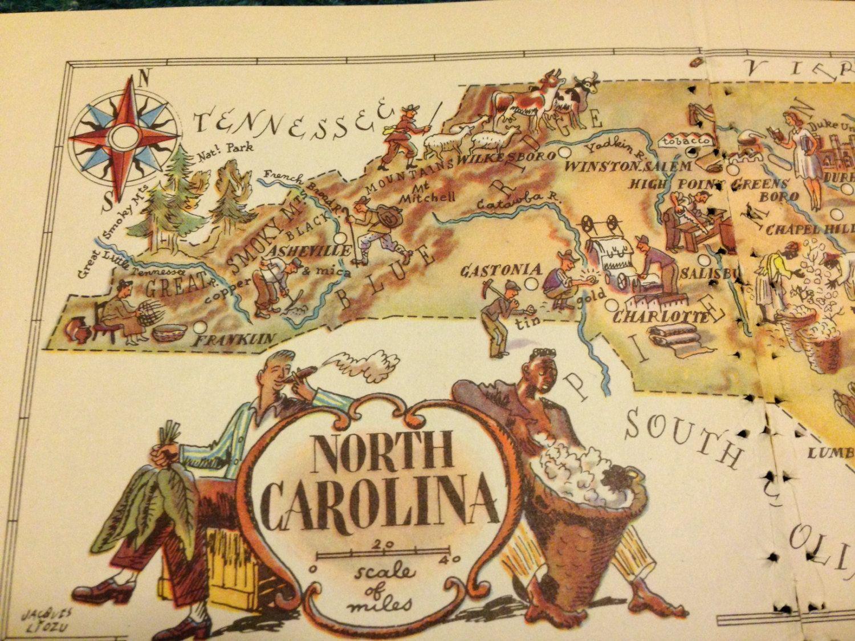 North Carolina Map Illustration / Vintage Map Art / 1950s Retro ...