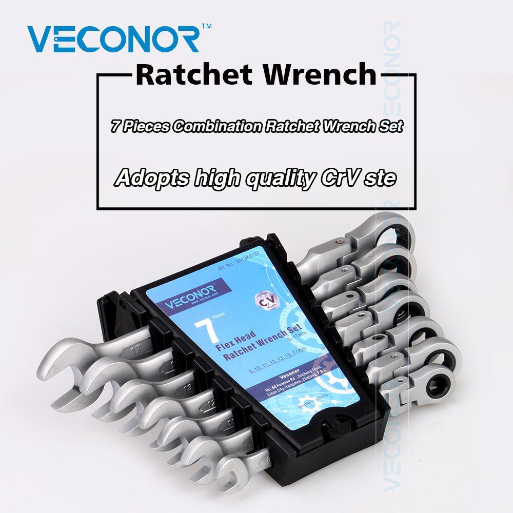 7pcs Chromed Gear Spanner Flexible Head Combination Ratchet Wrench Set