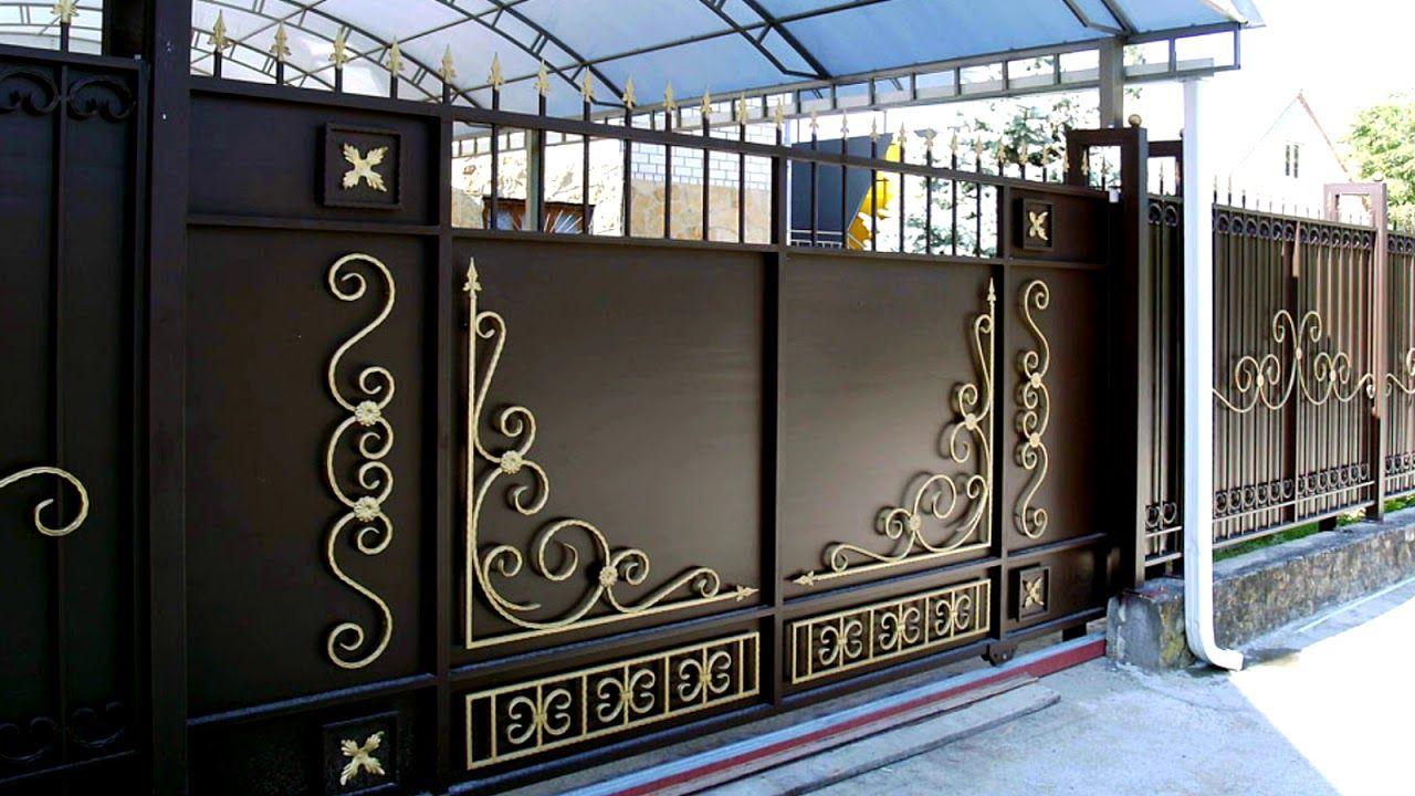 Otkatnye Vorota Vo Dvor Chastnogo Doma Metallicheskie Gate Designs Modern House Gate Design Front Gate Design