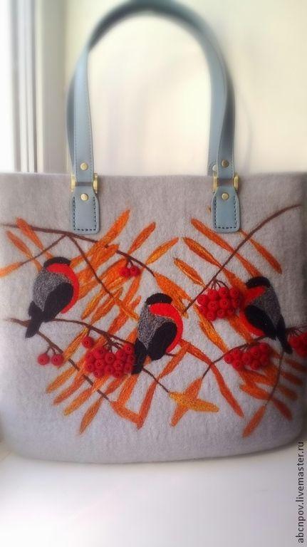 """Купить Сумка из войлока по мотивам """"Снегириное"""" - сумка, войлок, шерсть, сумка из войлока, снегири"""