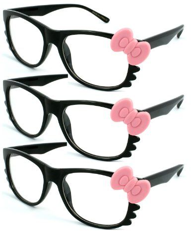 5bc25d12d Amazon.com: 3-Pack Fashion Hello Kitty Party Clear Lens Glasses. 31706-CL-  Black: Clothing $6.00