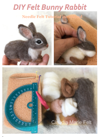 Tutorial Needle Felt Bunny Rabbit Instant Download Pdf 12 Etsy Needle Felting Tutorials Felt Bunny Needle Felted Bunny