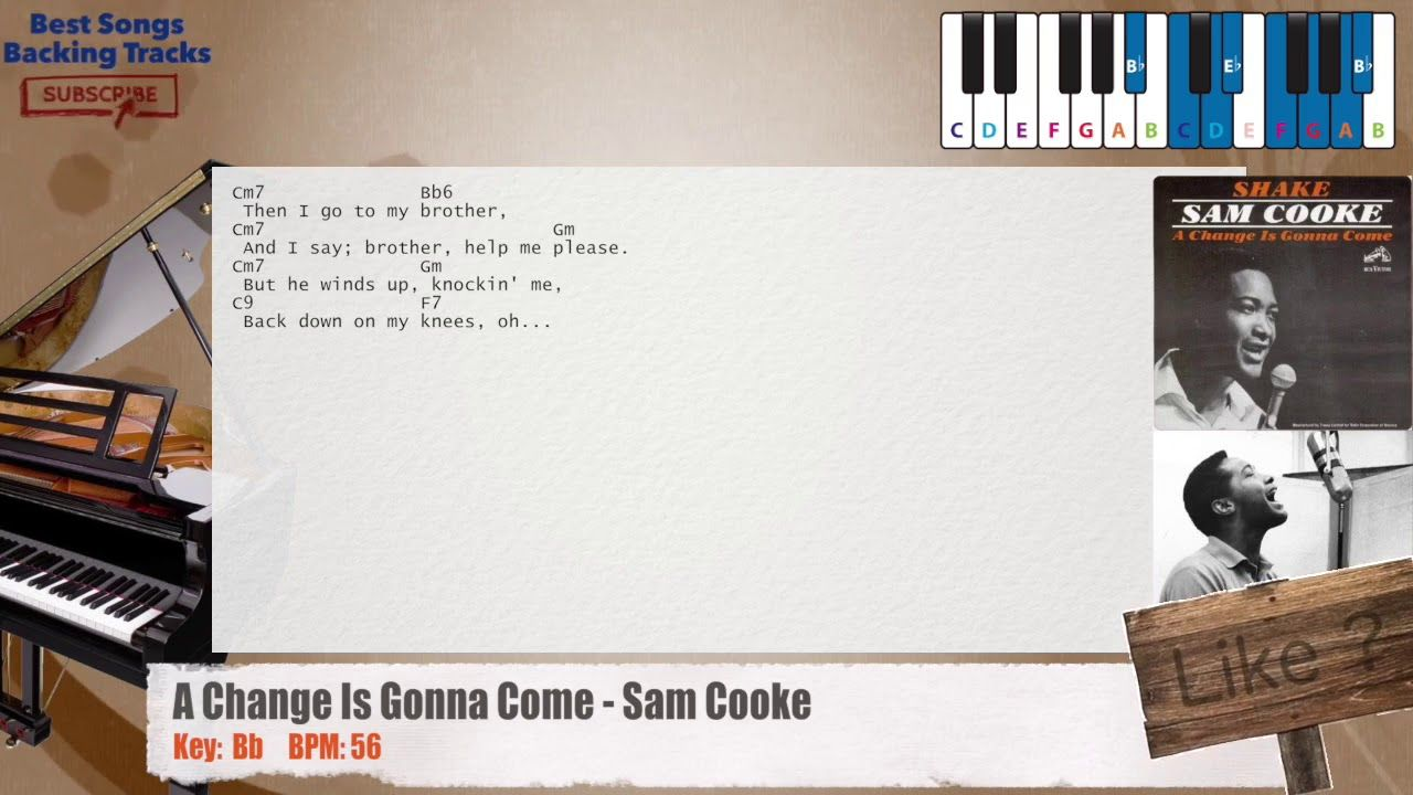 A Change Is Gonna Come Sam Cooke Piano Backing Track With Chords