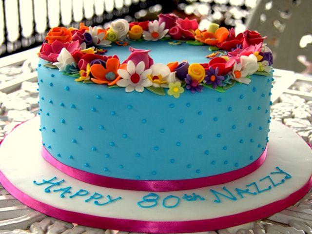 80th Birthday Cake Flower Birthday Cakes Flower Birthday And
