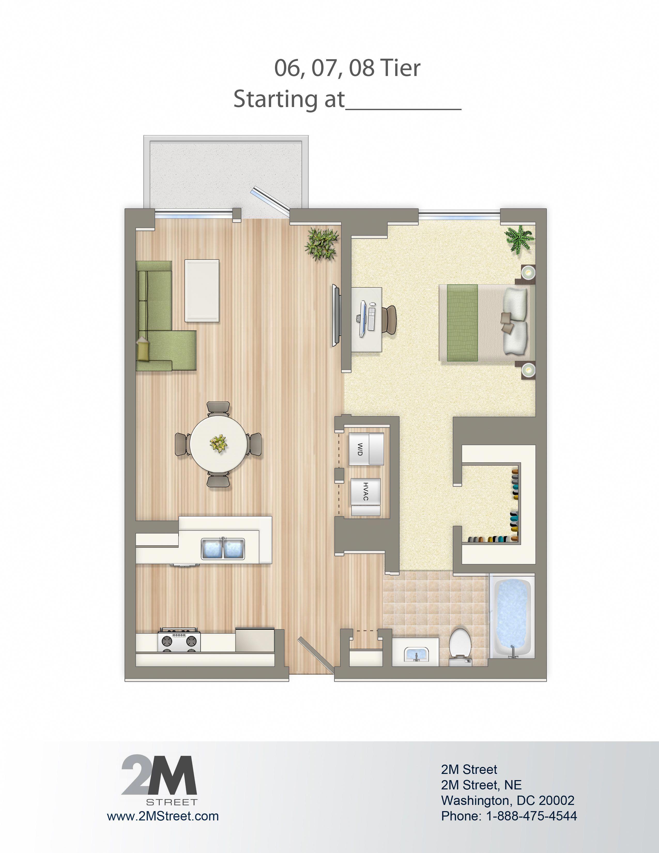 OneBedroom Floor Plan 2M Street in Northeast Washington