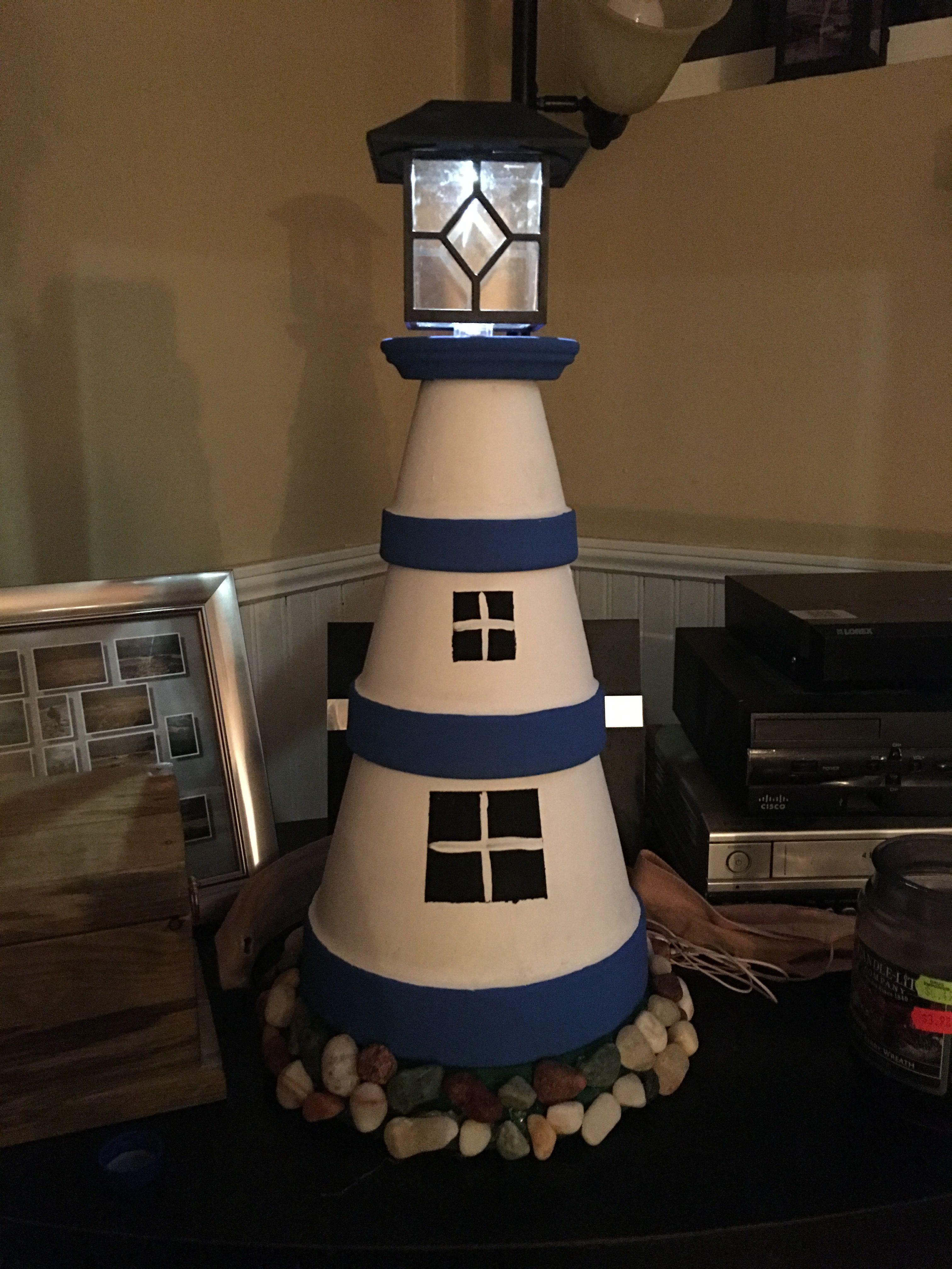 Diy make a clay pot lighthouse diy craft projects - First Diy Clay Pot Lighthouse