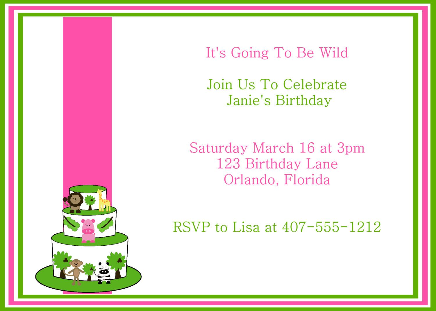 Girl Jungle Theme Party Invitation. $5.00, via Etsy. | Invitations ...