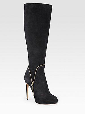 Salvatore Ferragamo Ronnie Zipper-Trimmed Suede Knee-High Boots