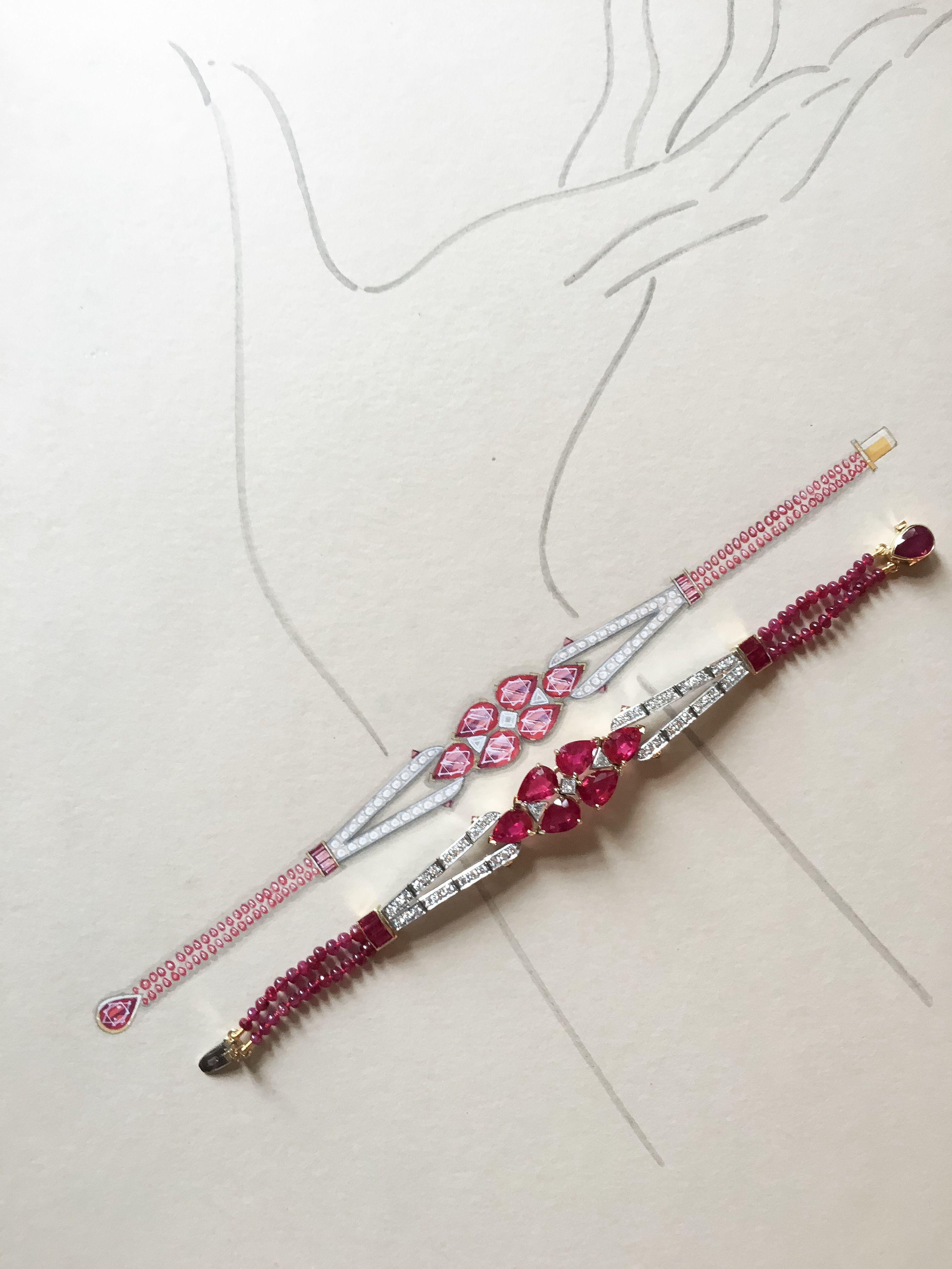 An important burmese ruby and diamond bracelet in the art deco style