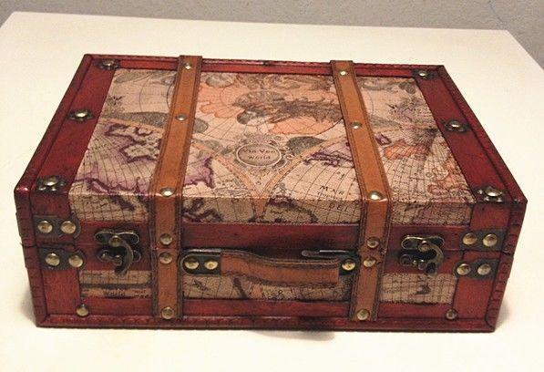 Decorative Luggage Box Antique Vintage Style World Map Decorative Wooden Suitcase Hf 004