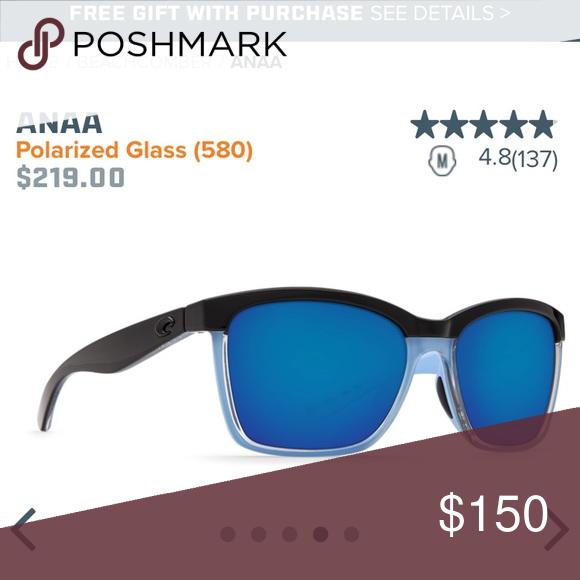fdbccd585c7 Black and Ice Blue Shiny Frames. Perfect condition. Come with Costa s  amazing lifetime warranty. Costa Del Mar Accessories Sunglasses