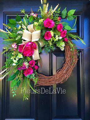 Spring door wreath, Floral Door wreath, Silk floral wreaths, Grapevine Door Wreath, Spring Wreath, Front Door wreath, Mothers Day Wreath by FleursDeLaVie on Etsy https://www.etsy.com/listing/225582276/spring-door-wreath-floral-door-wreath