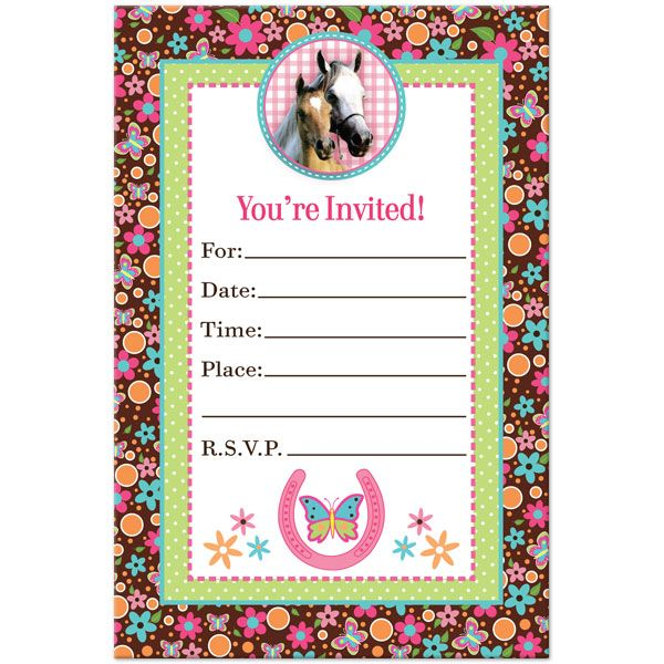 Girl Horse Fill In Invitations 16ct In 2019