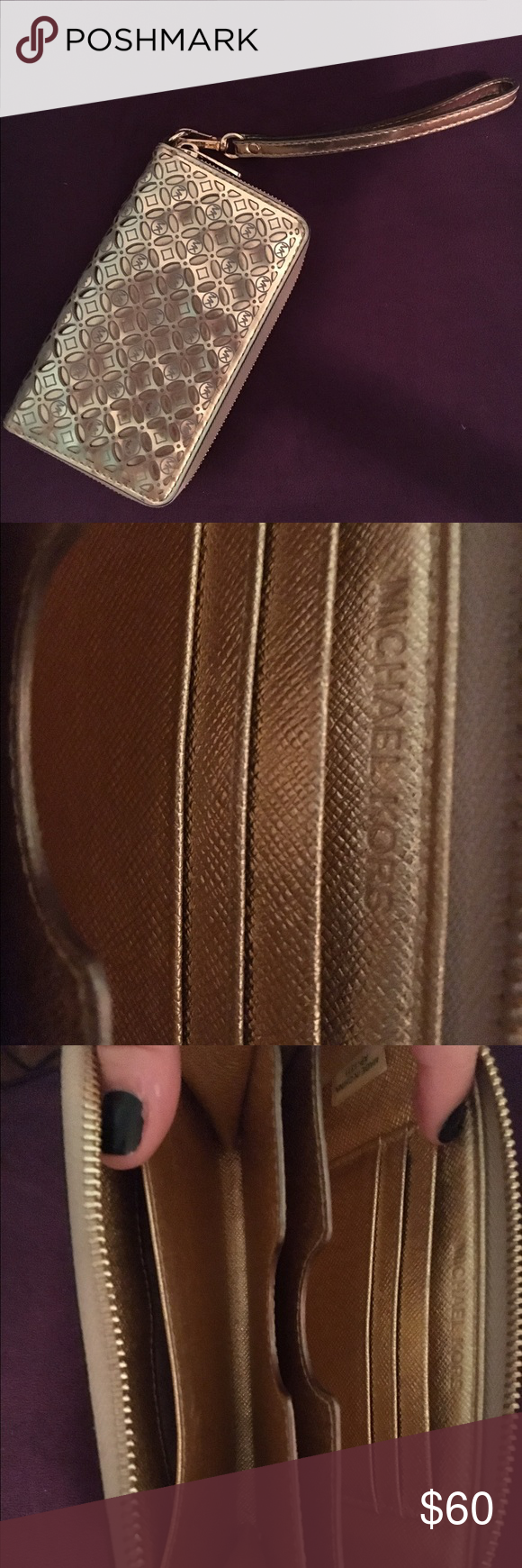 Michael Kors shiny gold wallet/wristlet! Authentic Michael Kors big wallet bought from Macy's in 2014. No stains or signs of wear. Super metallic and shiny. You can seriously fit so much stuff in here!! Michael Kors Bags Wallets