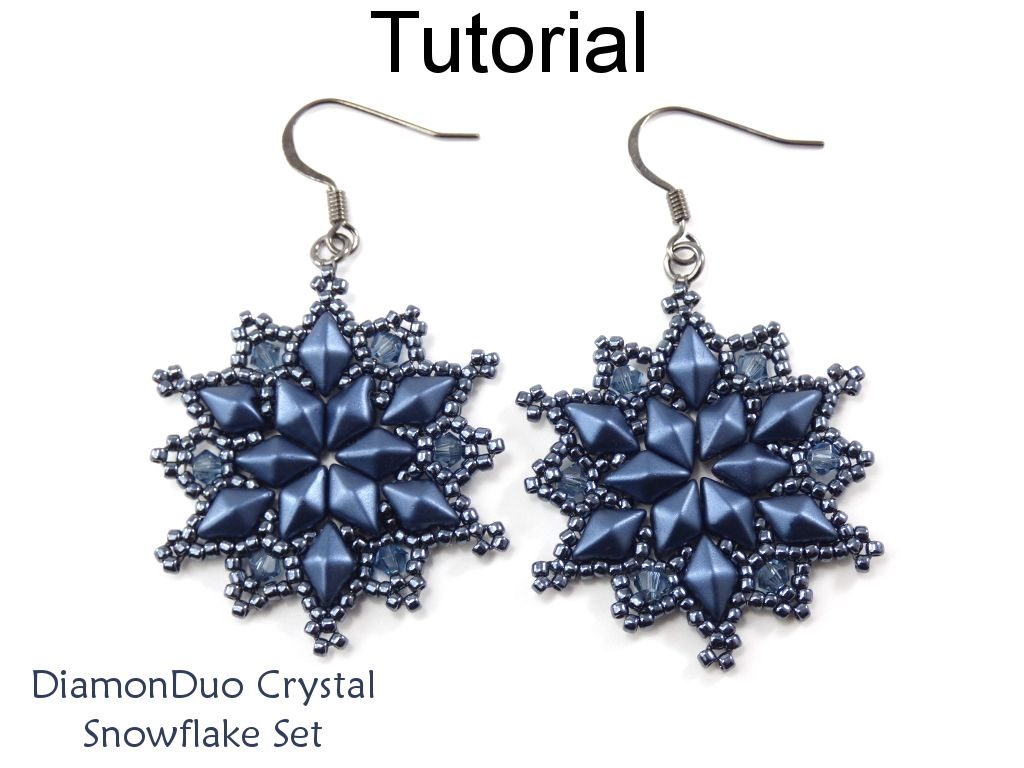 Diamonduo Crystal Snowflake Winter Holiday Earrings Pendant Necklace Two Hole Beads Jewelry Making Pattern Tutorial By