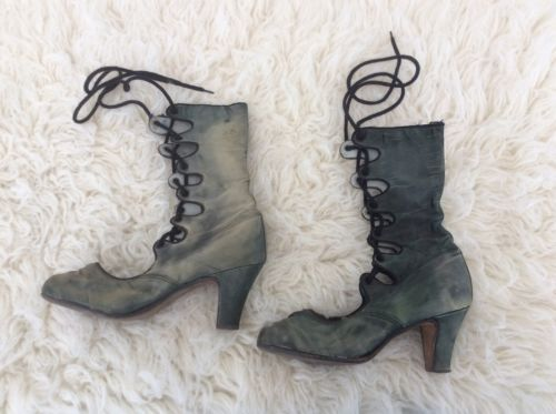 #Vintage #antique green satin lace up #victorian boots size 4,  View more on the LINK: http://www.zeppy.io/product/gb/2/361847162040/